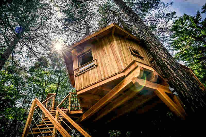 Durch die Befestigung zwischen zwei Bäumen kann das Baumhaus bei Wind ins Schwanken geraten