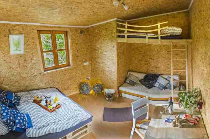 Im Baumhaus Grove stehen insgesamt fünf Betten zum Übernachten bereit