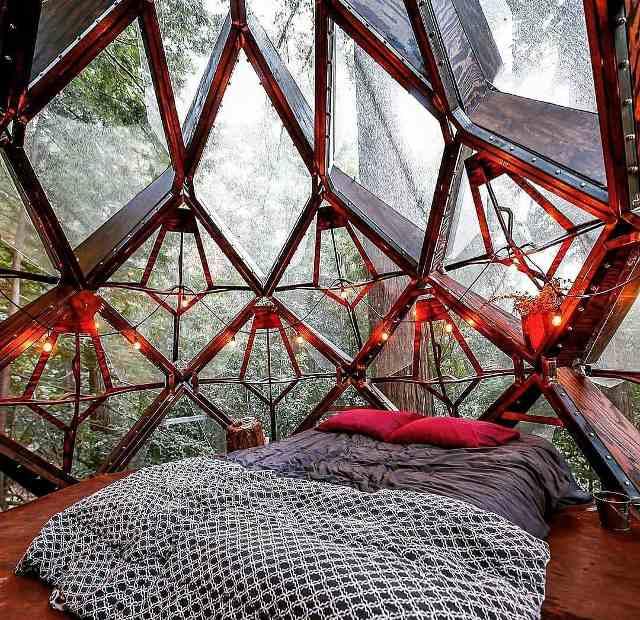 Innenansicht mit Doppelbett im Pinecone Treehouse Kalifornien