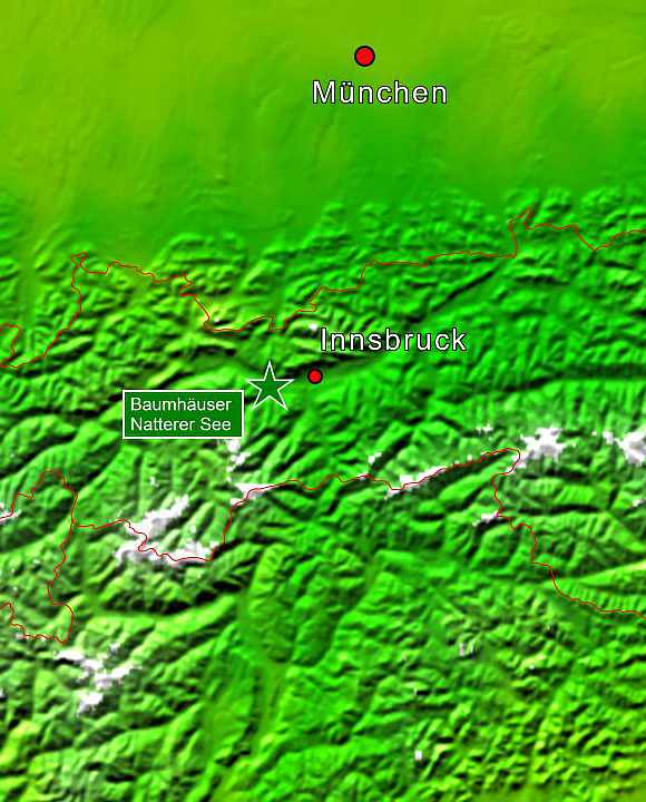 Baumhaushotels in Österreich: Lagekarte der Baumhaus-Lodges am Natterer See (Tirol)