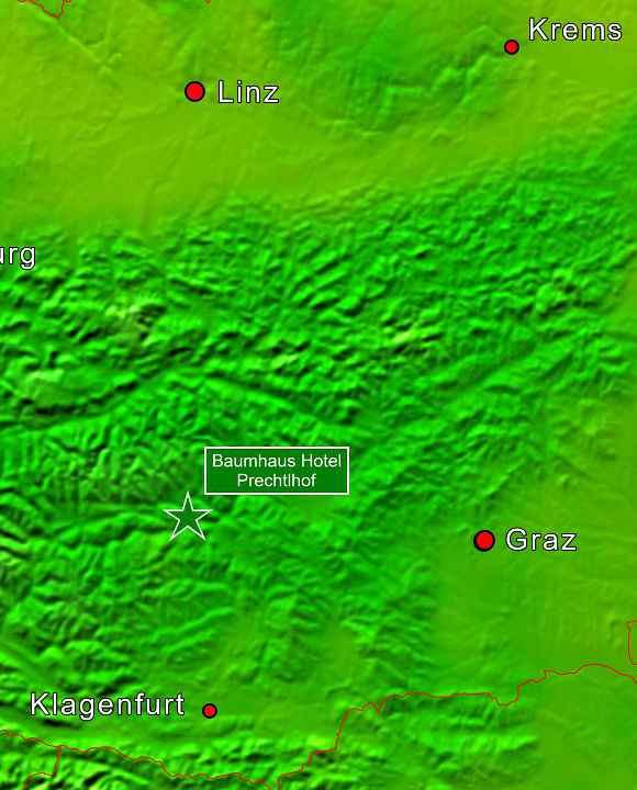 Baumhaushotels in Österreich: Lageplan Baumhaus Prechtlhof in Althofen (Kärnten)