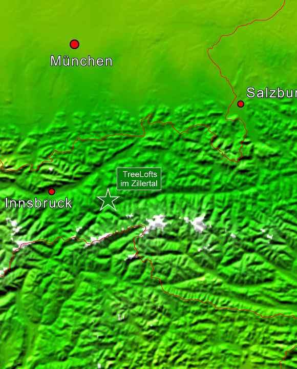 Baumhaushotels in Österreich: Lagekarte Treelofts im Zillertal