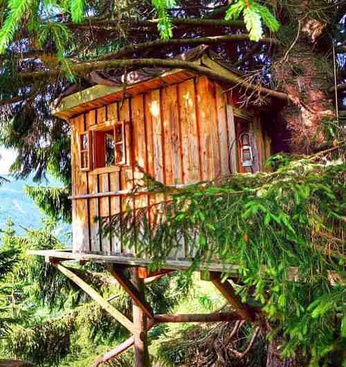 Die Hochzeiterhütte im Almdorf Seinerzeit zählt zu den romantischsten Baumhaushotels in Österreich