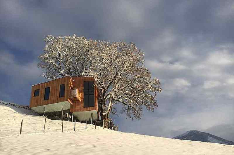 Baumhaushotels in Österreich: Baumhaus Taxhof im Winter
