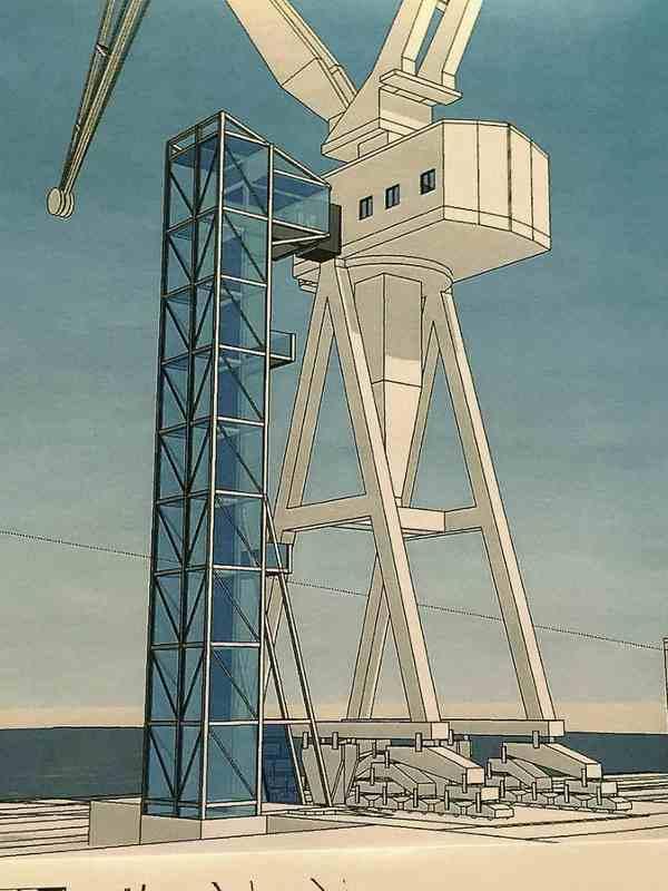 Das künftige Kranhotel im Rostocker Werftkran soll einen gläsernen Aufzug bekommen (Entwurf)