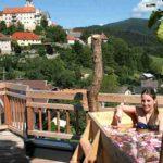 Baumhaushotels in Österreich: Freiluft-Jacuzzi mit Ausblick vom Baumhaus Prechtlhof