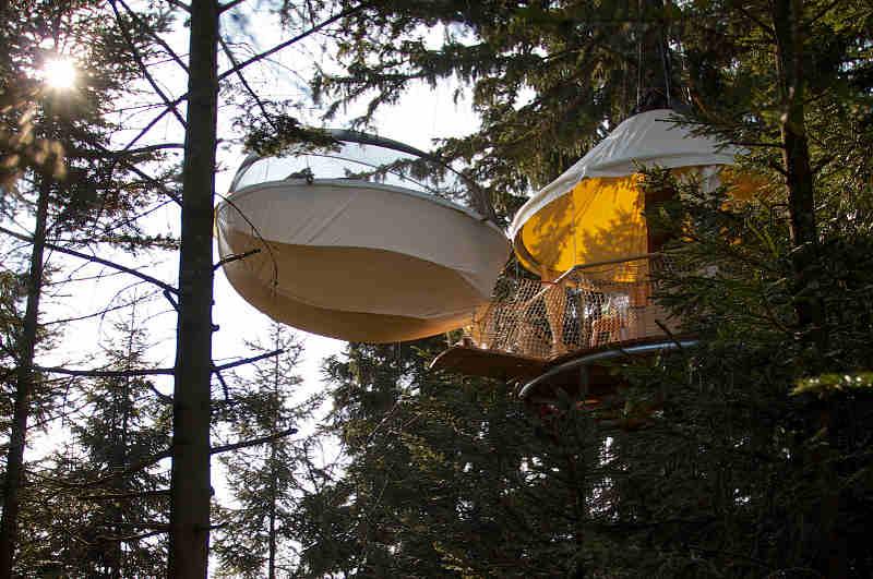 Das Baumbett im Böhmerwald ist die Cabrio-Variante zu herkömmlichen Baumhaushotels in Österreich