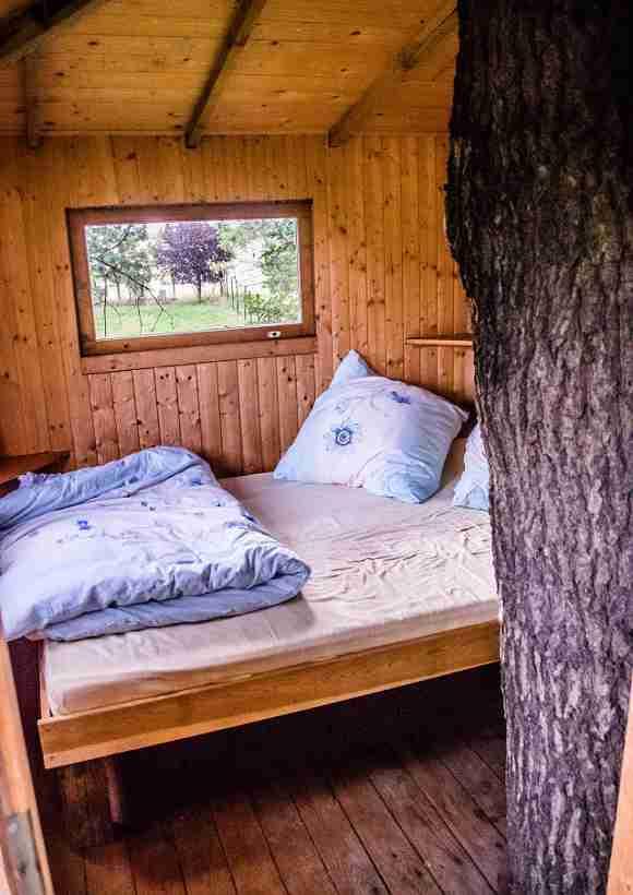 Baum im Schlafzimmer: das Baumhaus auf dem Hofgut Kreuma von innen