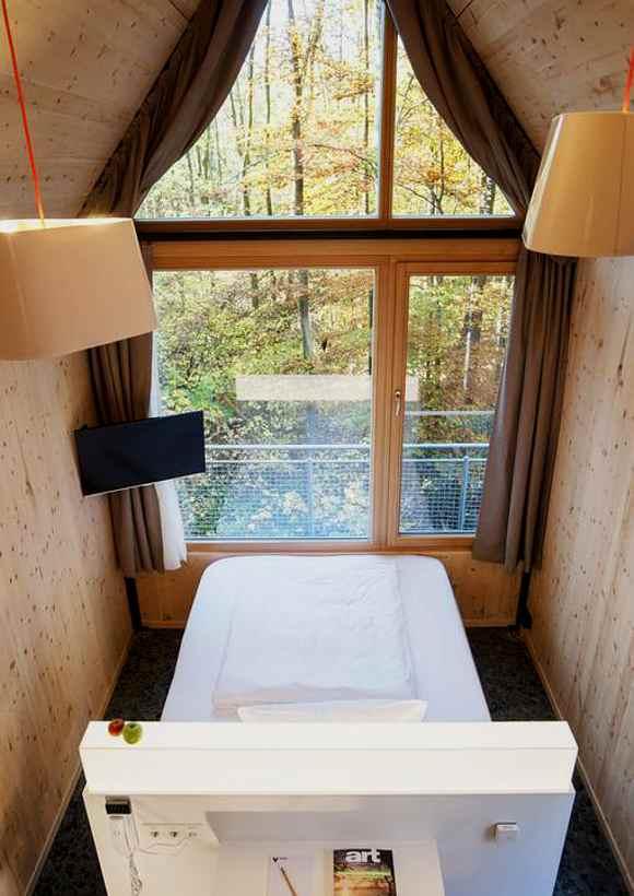 Mit Waldblick vom Doppelbett aus übernachten Gäste im Baumhaus Rotkäppchen auf dem Bonner Venusberg
