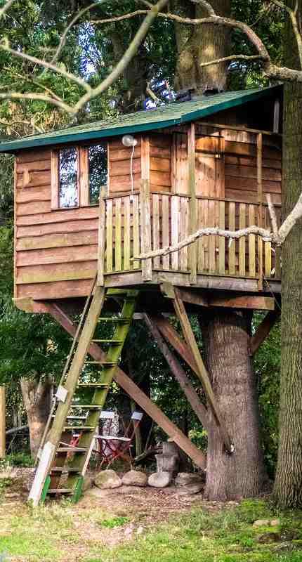 Das Baumhaus auf dem ökologisch geführten Hofgut Kreuma bei Leipzig gilt im Gegensatz zu anderen Baumhaushotels in Sachsen als Geheimtipp