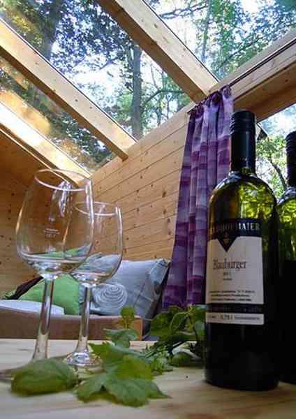 Luxuriöses Naturerlebnis: romantischer Abend mit einer Flasche Wein in Ochys Waldhütten
