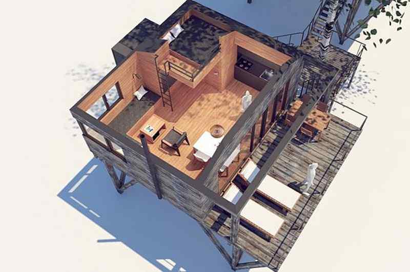 Entwurf eines Stelzenhauses für das Baumhaushotel von Sankt Wendel (Einblick aus der Luft)