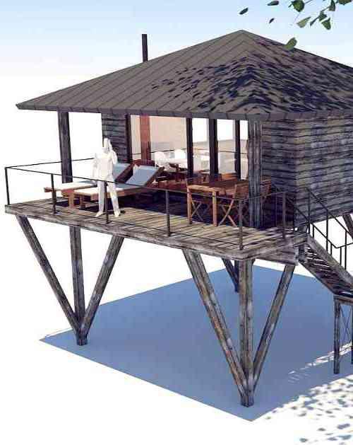 Entwurfsdetail für geplantes Baumhaushotel in Sankt Wendel (Saarland)