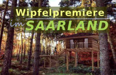 Visualisierung des geplanten Baumhaushotels im Saarland mit dem Titel 'Wipfelpremiere an der Saar'