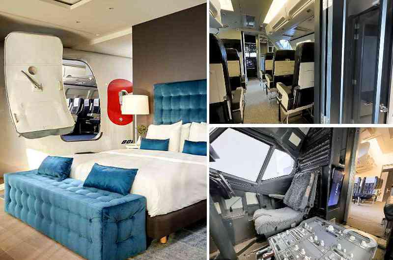 Der halbe Rumpf einer echten Boeing 737 in der Cockpit-Suite des City Hotels Corendon in Amsterdam beherbergt einen Flugsimulator für Gäste