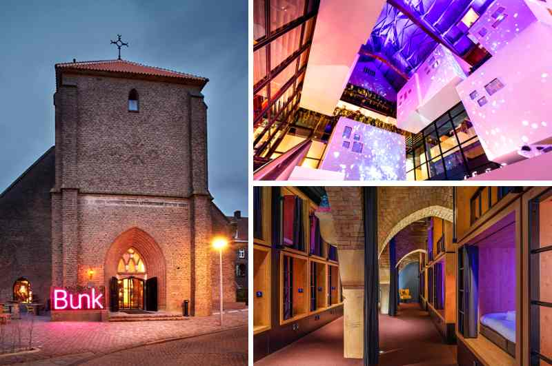 Das Bunk Hotel in der monumentalen Sint Ritakerk lockt mit coolen aber erschwinglichen Unterkünften im Zentrum von Amsterdam
