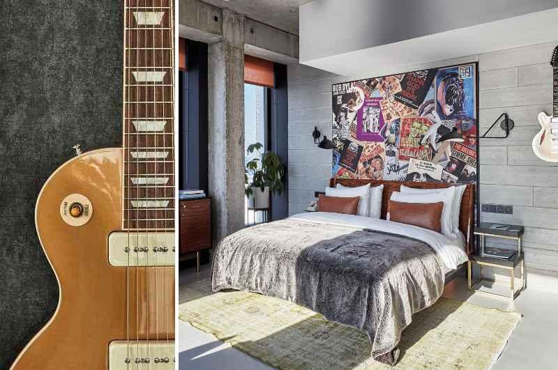 Im Sir Adam Hotel gehören Gibson Gitarren zur Zimmerausstattung. Die Dachterrasse des Hotels bietet zudem beste Aussichten auf das Zentrum von Amsterdam.