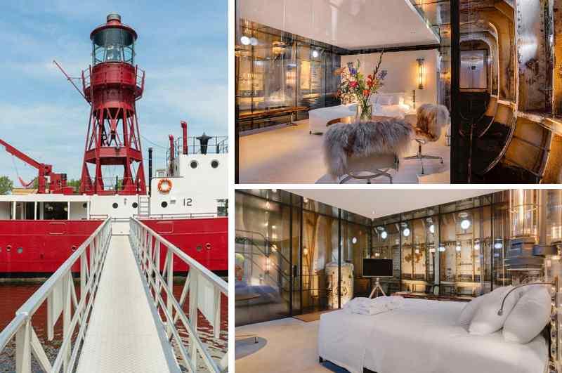 Als schwimmendes Bed & Breakfast im Zentrum von Amsterdam bietet das Lightship neben allen Annehmlichkeiten eines Hotels Industrial Design vom Feinsten. Mit seinem markanten Leuchtturm ist das umfunktionierte Feuerschiff zudem ein echter Blickfang.