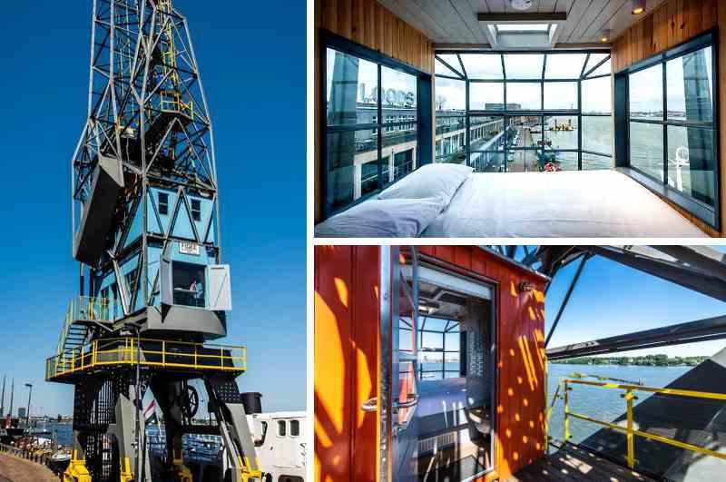 Amsterdam bietet neben unzähligen Hotels im Zentrum auch exklusive Appartements an besonderen Orten. Wie etwa The Yays Crane Apartment, das sich in einem umfunktionierten Hafenkran befindet.