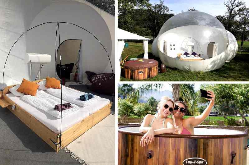 Ansicht Bubble Tent Übernachtung in Weyreg am Attersee in Österreich, innen und aussen mit Hot Tub