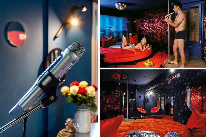 Die Sin City Suite des Erotikhotels Zeit & Traum in Beatenberg verfügt neben einer Bühne mit Pole Dance Stange auch über eine eigene Karaoke-Anlage.