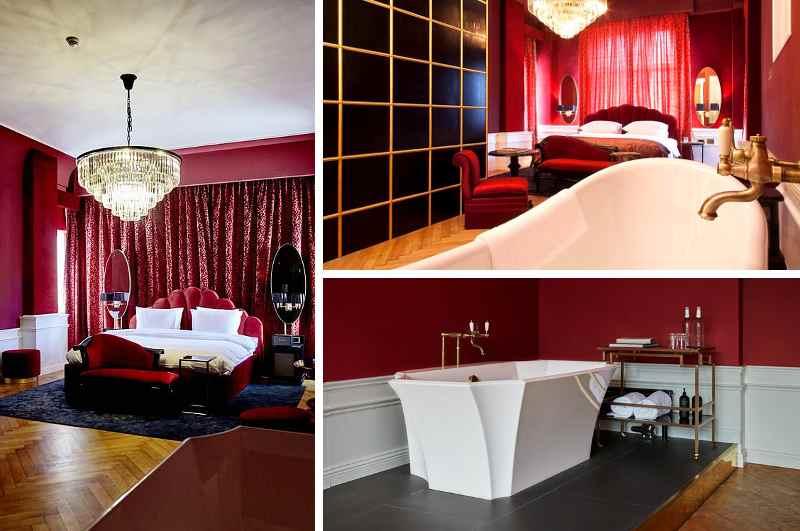 Wer das Made with l'Amour Package des Hotel Provocateur in Berlin gebucht hat, erhält zur Übernachtung ein Time to Tease Set mit Handschellen, Kondomen und Massageöl. Wegen seiner burlesquen Ausstattung gehört es zu den besten Erotikhotels der Hauptstadt