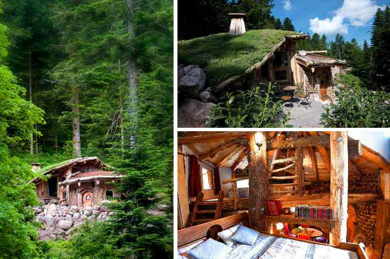 Die urige Hobbithütte im französischen Abenteuerpark Bol d'Air nahe la Bresse lässt die Vogesen zu Mittelerde verschmelzen und bietet als Ferienhaus Platz für vier Personen