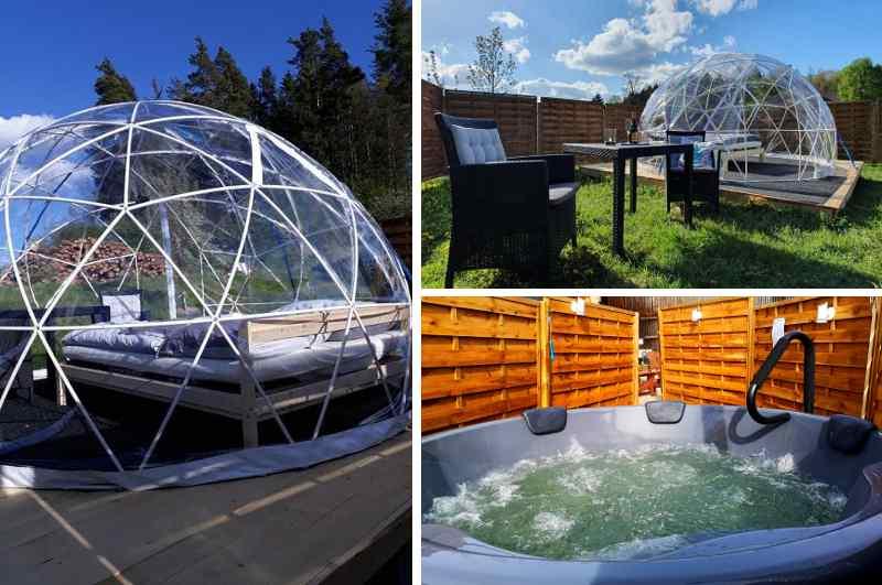Iglu-förmiges Bubble Hotel im Fichtelgebirge in Bayern mit Outdoor Whirlpool und Sichtschutz für Naturfreunde und Genießer