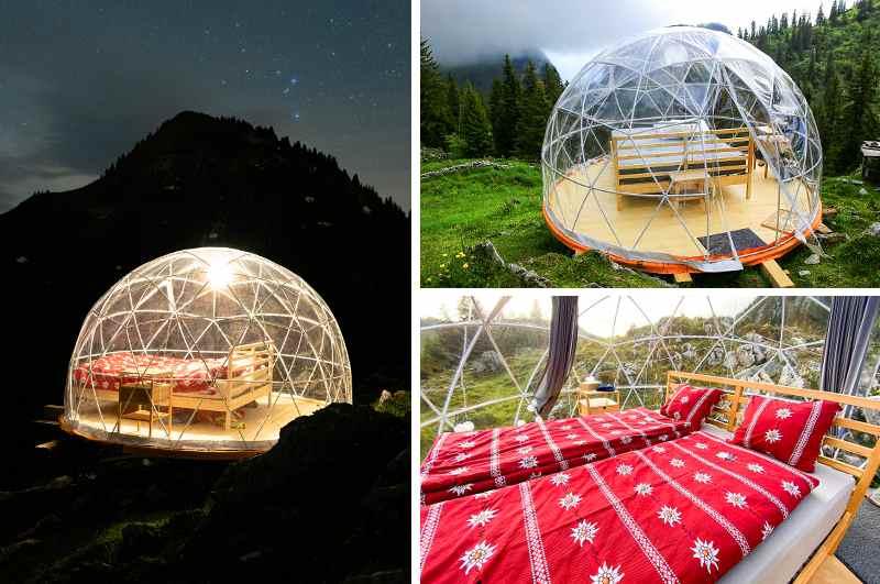 Das Staernebett am Berggasthof der Oberstockenalp gehört zu den beliebtesten Glamping-Destinationen der Schweizer Alpen