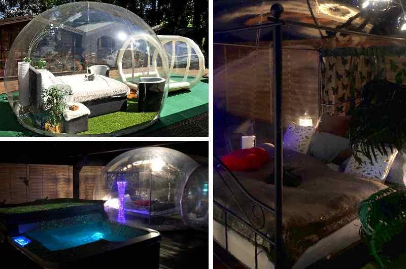 Innen- und Aussenansicht des Bubble Hotels Deutschland in Orlenbach nahe Gerolstein in der Eifel (Rheinland-Pfalz) Outdoor-Übernachtung mit Whirlpool