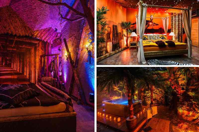 Die Premium Deluxe Suite im Taunus umfasst Themenzimmer zu Mittelalter, Afrika, Urwald Dschungel,  Hawaii Beach oder Sternenhimmel und eignet sich daher ideal für erotische Rollenspiele. Erotikhotel für eine romantische Auszeit mit Urlaubsfeeling in Bad Schwalbach
