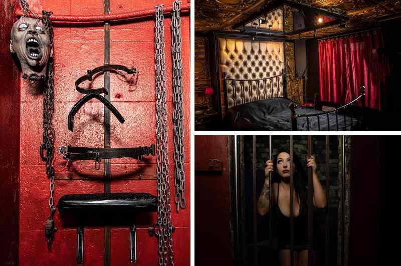 Erotikhotels in England: das Erotic Boudoir in Brighton entführt auf die dunkle Seite der Liebe. SM-Apartment mit Spiegel über dem Bett, Liebesschaukel, Kerkerzelle mit Fesseln, Ketten und Horror Latexmasken