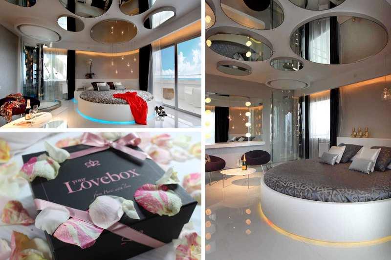 Riesige Deckenspiegel und eine freistehende gläserne Dusche verwandeln den Fashion Victim Room des Ushuaia Beach Hotels auf Ibiza in einen Hotspot für hedonistische Partygänger. Dazu gibt es eine zubuchbare Lovebox