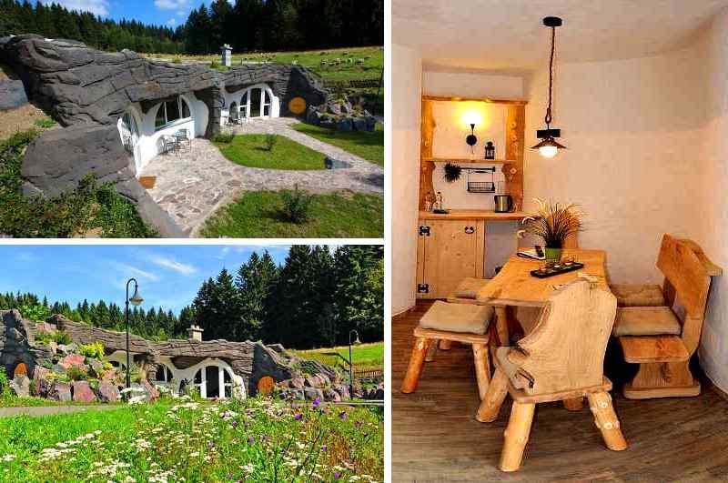 Das Feriendorf Auenland in Thüringen besteht aus mehreren Ferienwohnungen, die sich in einem einzigen Hobbit Haus aneinander reihen.