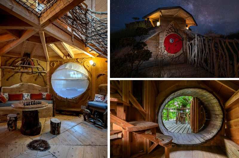 Unter den ungewöhnlichen Unterkünften im ökologischen Feriendorf Vit Tel Ta Nature nahe dem berühmten Mineralwasser-Sitz Vittel im Elsass sticht die Gaia Hütte heraus, die mit ihrer runden Eingangstür an ein Hobbit Haus erinnert