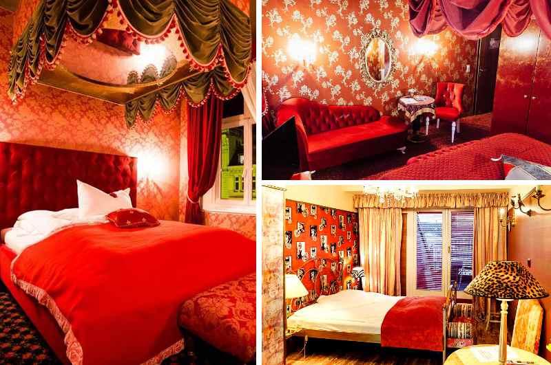 Mit viel Plüsch, Baldachin und Spiegel über dem Bett erinnert das Hotel Village in Hamburg noch immer an seine sündige Vergangenheit als nobelstes Bordell der Hansestadt