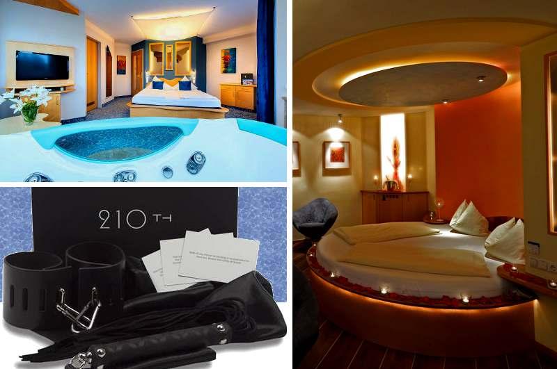 Mit der Fifty Shades of Grey Box gestaltet sich der Aufenthalt im romantischen Whirlpool-Zimmer des Hotel Himmelreich bei Salzburg noch aufregender.  Enthalten sind Handschellen, eine Wildleder-Peitsche, Augenbinde sowie Satin-Bondages