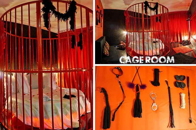 Der Cage Room mit rundem Käfig-Bett im Hotel Meeting Casoria bei Neapel verfügt über jede Menge SM-Zubehör für Liebhaber von Fifty Shades of Grey