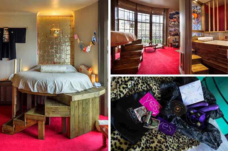 Der Koibito Love Room im Hotel Pelirocco in Brighton bringt das Flair japanischer Erotikhotels nach England. Dazu passend gibt es optional ein Sextoys Hampers Kit.