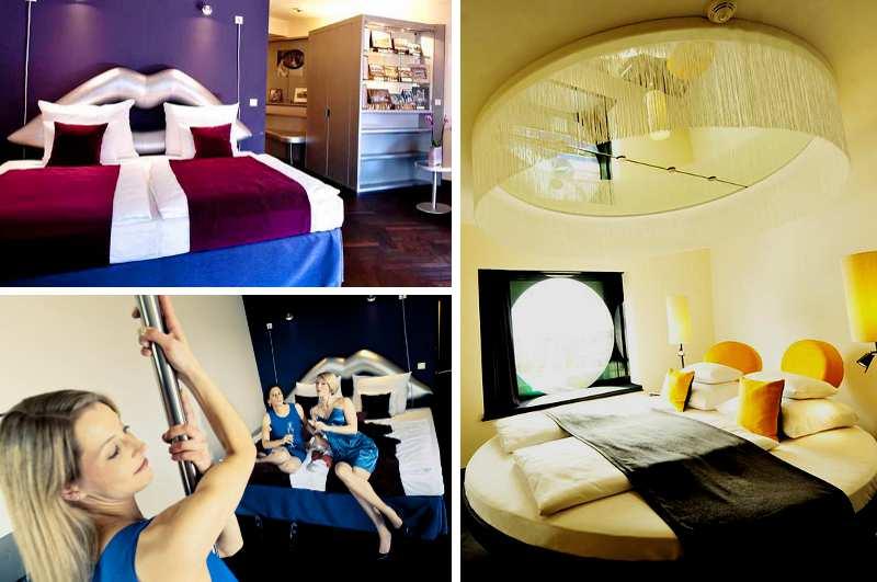 Das Arcotel Onyx an der Hamburger Reeperbahn verfügt nicht nur über ein spezielles Kiez Zimmer mit Pole Dance Stange, sondern auch über erotische Unterkünfte mit Spiegel über dem Bett