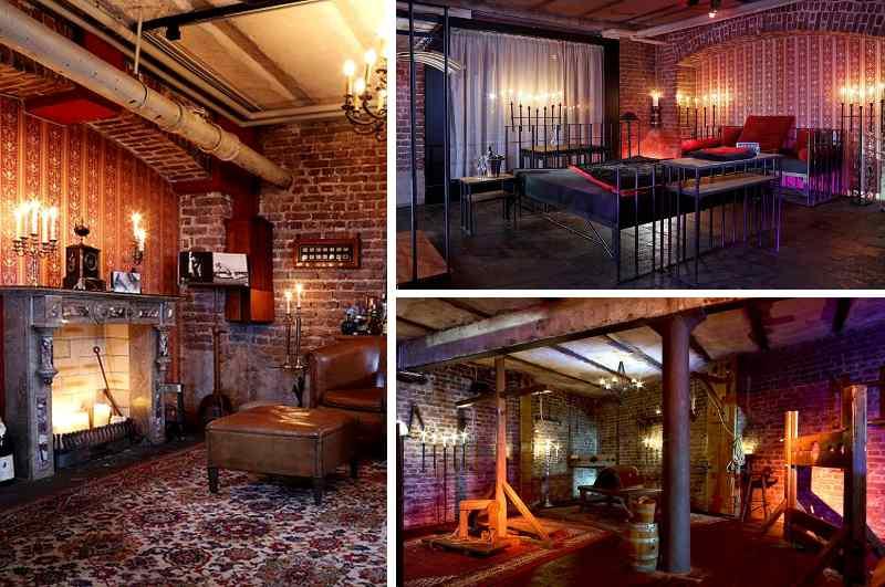 Bei der Jailhouse Suite in Köln handelt es sich um ein diskretes SM-Appartment im Industrie-Look mit Kerker-Optik, Gitterbett, Kaminzimmer und voll ausgestattetem Folterkeller