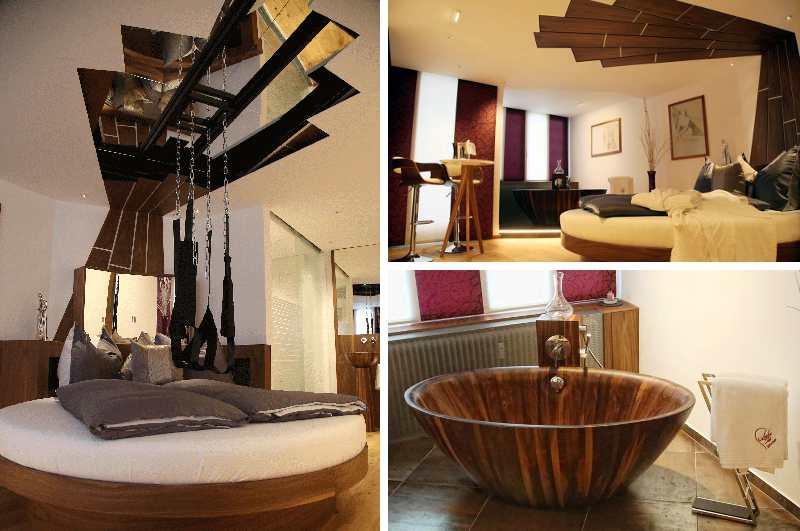 Obwohl das Hotel Alpenland im österreichischen Seefeld nicht zu den klassischen Erotikhotels zählt, besitzt es eine raffinierte Erotik-Suite mit eingebauter Liebesschaukel über dem Bett