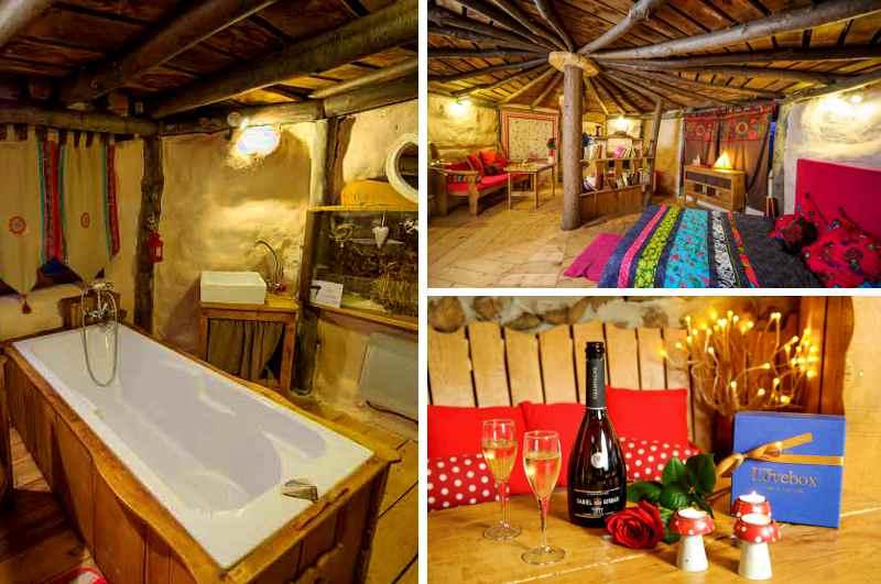 Außergewöhnliche Erotikhotels und Liebesnester finden in Frankreich viel Zuspruch. So auch  das Hobbithaus Nid dans Le Bruyere, das eine erotische Auszeit mit Badewanne und Lovebox verspricht