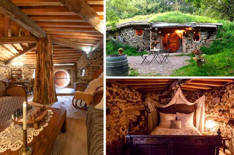 Das Maison des Sacquets auf dem Campingplatz der Domaine de la Pierre Ronde ist das erste Hobbit Haus eines geplanten Dorfes mit Gras bewachsenen Erdhäusern.