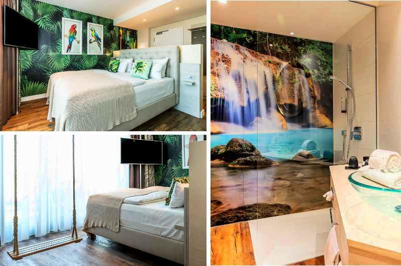 Zu den originellen Themenzimmern im Designhotel Block in Ingolstadt gehört auch ein exotisches Maui Zimmer mit Schaukel