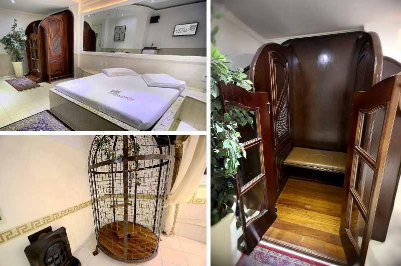 Love Hotels in Brasilien: Liebhaber von Rollenspielen werden von diesem Zimmer mit Beichtstuhl und Vogelkäfig im Motel Calidon begeistert sein
