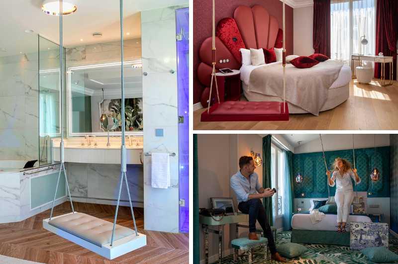 Mit Whirlpool und Schaukel im Zimmer kann man im extravaganten Paris j'Adore Hotel & Spa in der Stadt der Liebe übernachten
