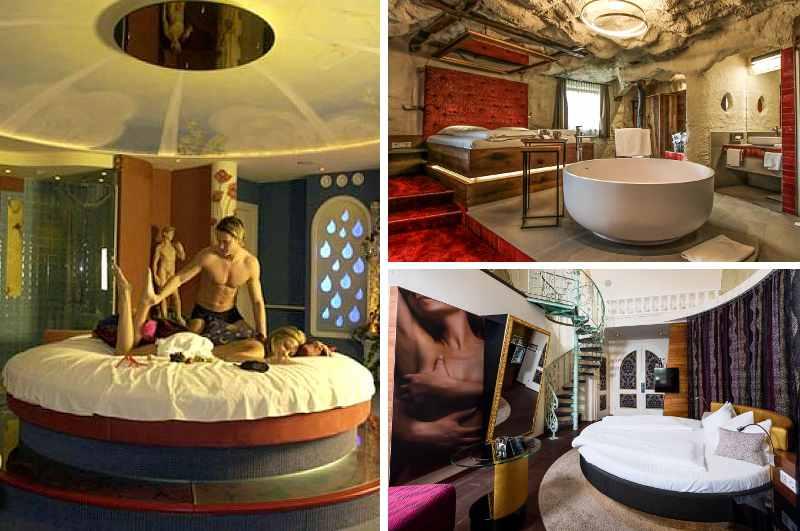 In den erotischen Suiten des Adults only Genießer Hotels Bergergut in Afiesl stehen Spiegel am oder über dem Bett hoch im Kurs