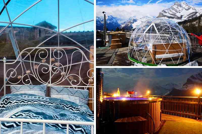 In der beheizbaren Sky Bubble Suite Braunwald in Glarus kann man das Schweizer Alpen-Panorama sogar im Winter vom Whirlpool aus geniessen