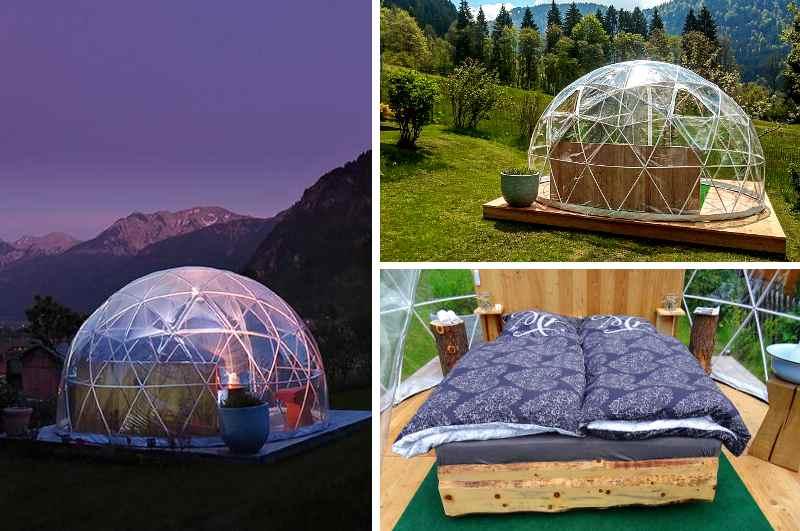 Das Sterneniglu Montaneo  bietet naturnahe Übernachtungen mit Bergblick in den Allgäuer Voralpen (Bayern)